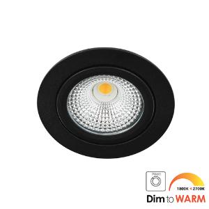 LED spot kantelbaar 5Watt rond ZWART IP65 dimbaar DTW-1