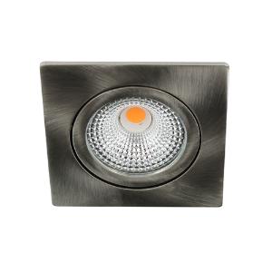 LED spot kantelbaar 5Watt vierkant NIKKEL IP65 dimbaar D-1