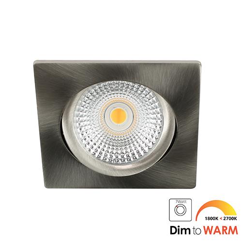 LED spot kantelbaar 5Watt vierkant NIKKEL dimbaar DTW-2