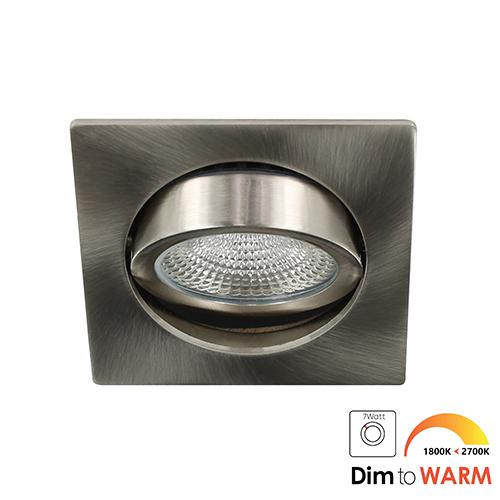 LED spot kantelbaar 5Watt vierkant NIKKEL dimbaar DTW-3