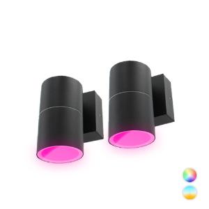 Set 2x Novo Smart LED schuttinglamp RGBW IP65 5Watt dimbaar rond down