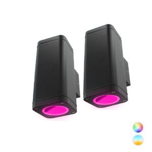 Set 2x Novo Smart LED schuttinglamp RGBW IP65 5Watt dimbaar vierkant up en down
